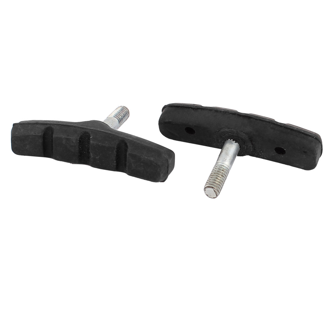 2 Pcs 6mm Thread Dia Black Carved Rubber Mountain Bicycle Bike Replacement Brake Pads
