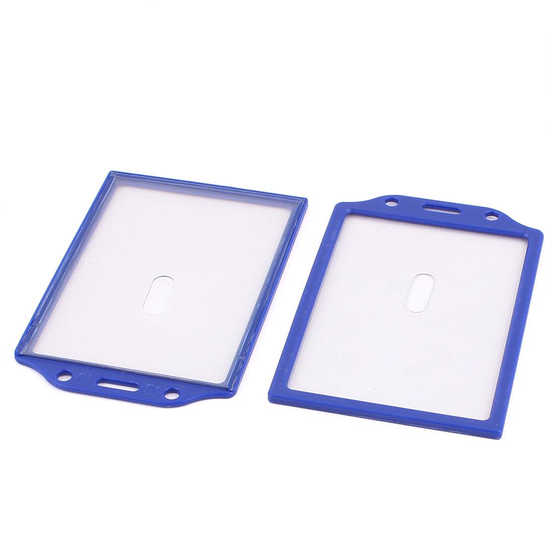 Blue Plastic Vertical A7 ID Badge Card Pocket Holder Case 2pcs