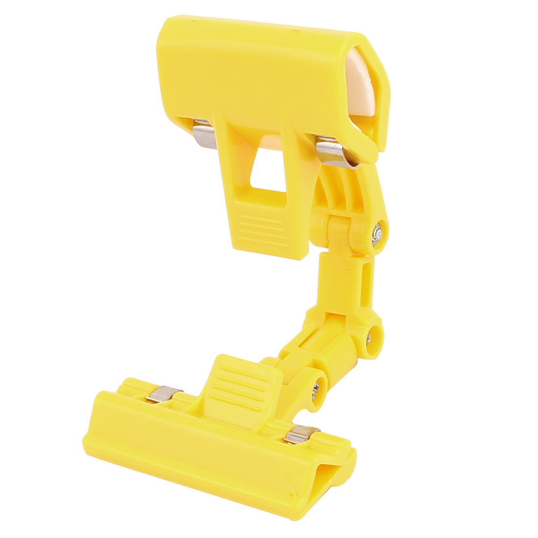 Multipurposes Advertizing Card Plastic 360 Degree Rotatable Rotating Pole Double Clamps Pop Display Holder Clip Yellow