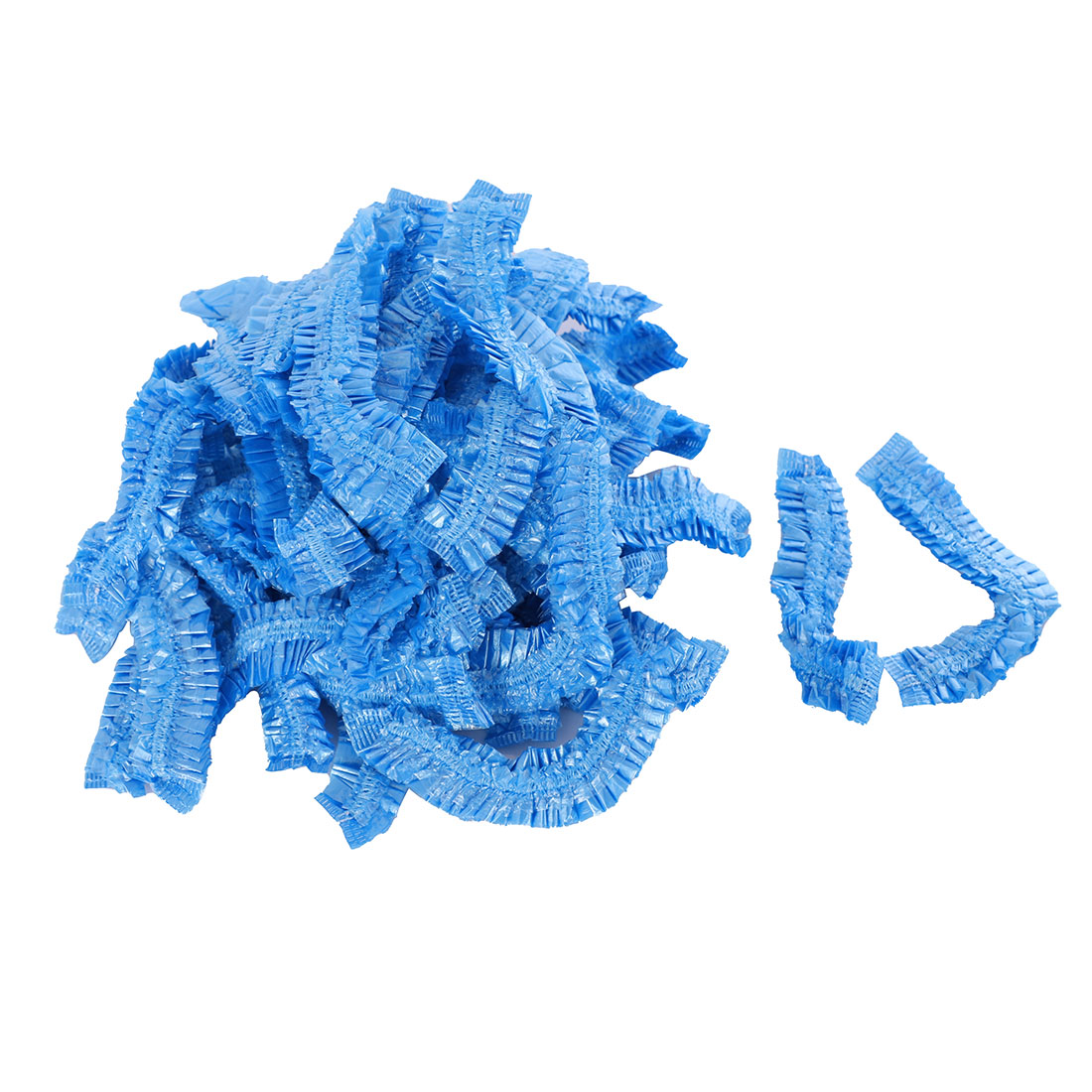 Woman Bathroom Elastic Band Fabric Bathing Shower Cap Bath Hat Blue 100pcs