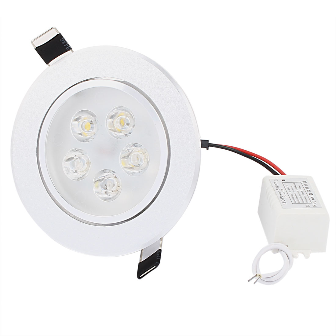 Silver Tone Aluminium Heatsink Round Warm White 5 LED Ceiling Down Recessed Lamp Light Downlight 5W AC 85-265V 300mA