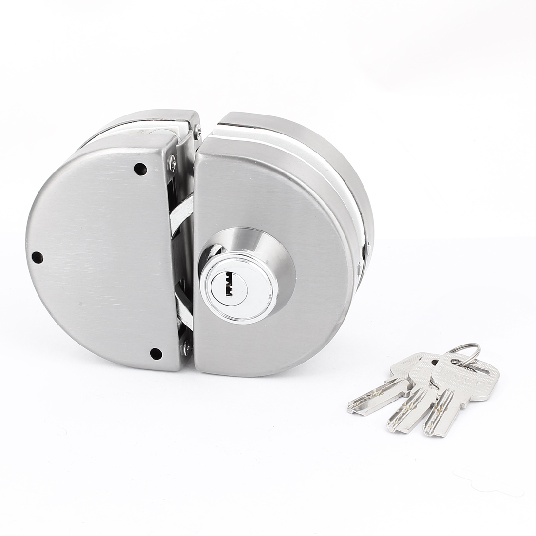 Pair Silver Tone Metal Double Bolts Push Sliding Door Lock for 10-12mm Glass