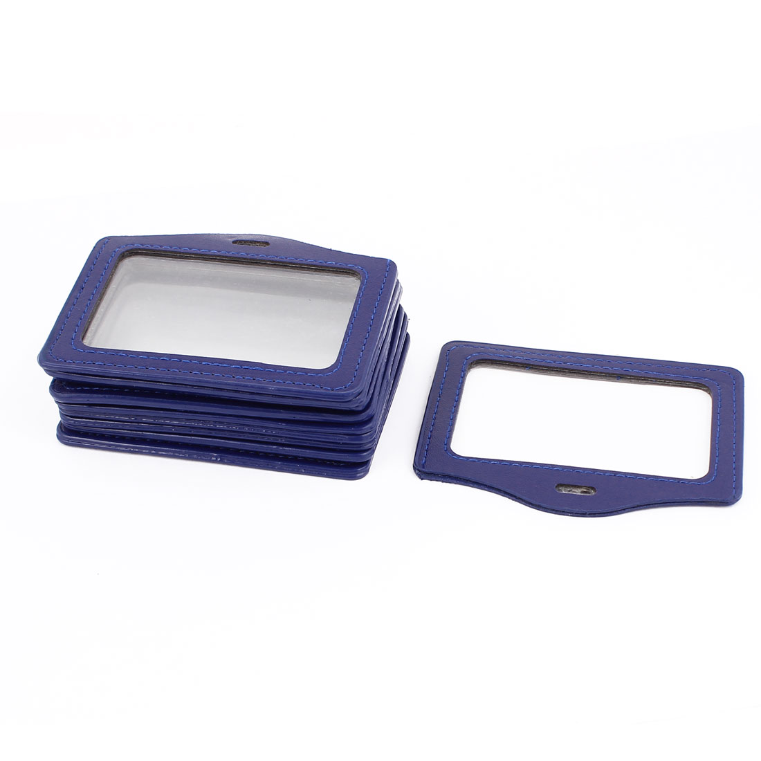 10pcs Blue Faux Leather School Office Double Sides Horizontal Business ID Badge Card Holder Container