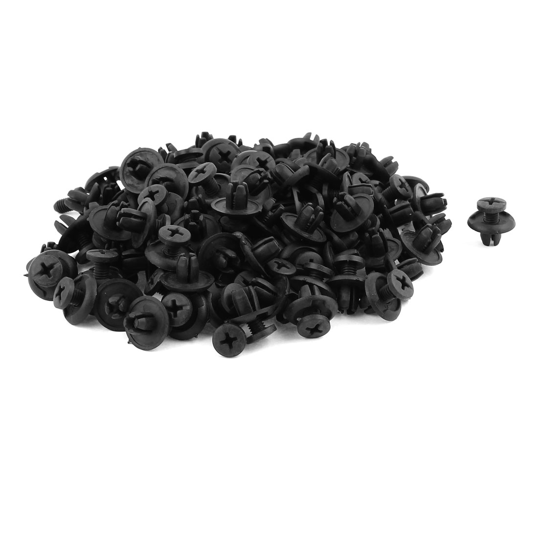 100pcs 8mm Dia Hole 20mm Head Black Plastic Rivets Fastener Fender Car Bumper Push Clips