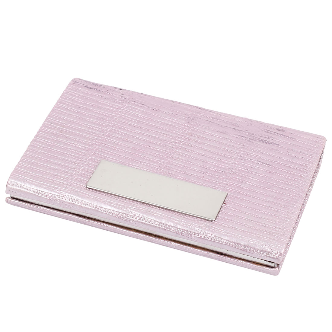 Faux Leather Coated Magnetic Flap Closure ID Name Business Credit Cards Holder Case Pink