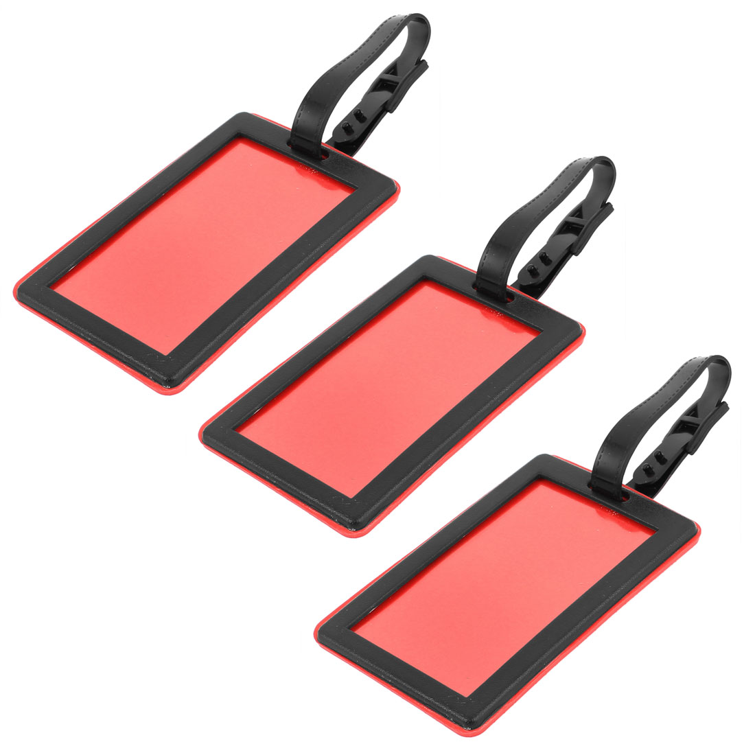 Padlock Print Rectangle Shaped Plastic Bag ID Name Label Luggage Tag Red Black 3pcs