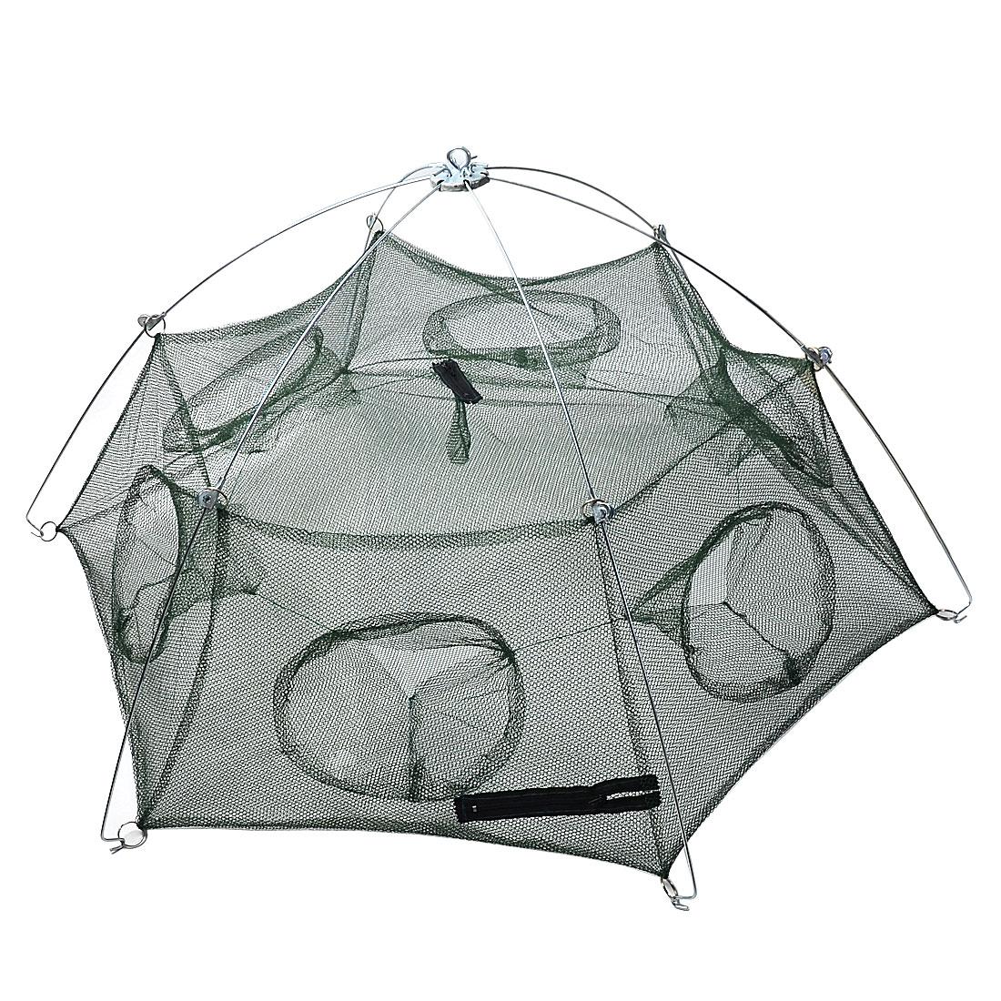 82cm x 100cm x 32cm Metal Frame Fishing Umbrella Shrimp Cast Dip Net Dark Green