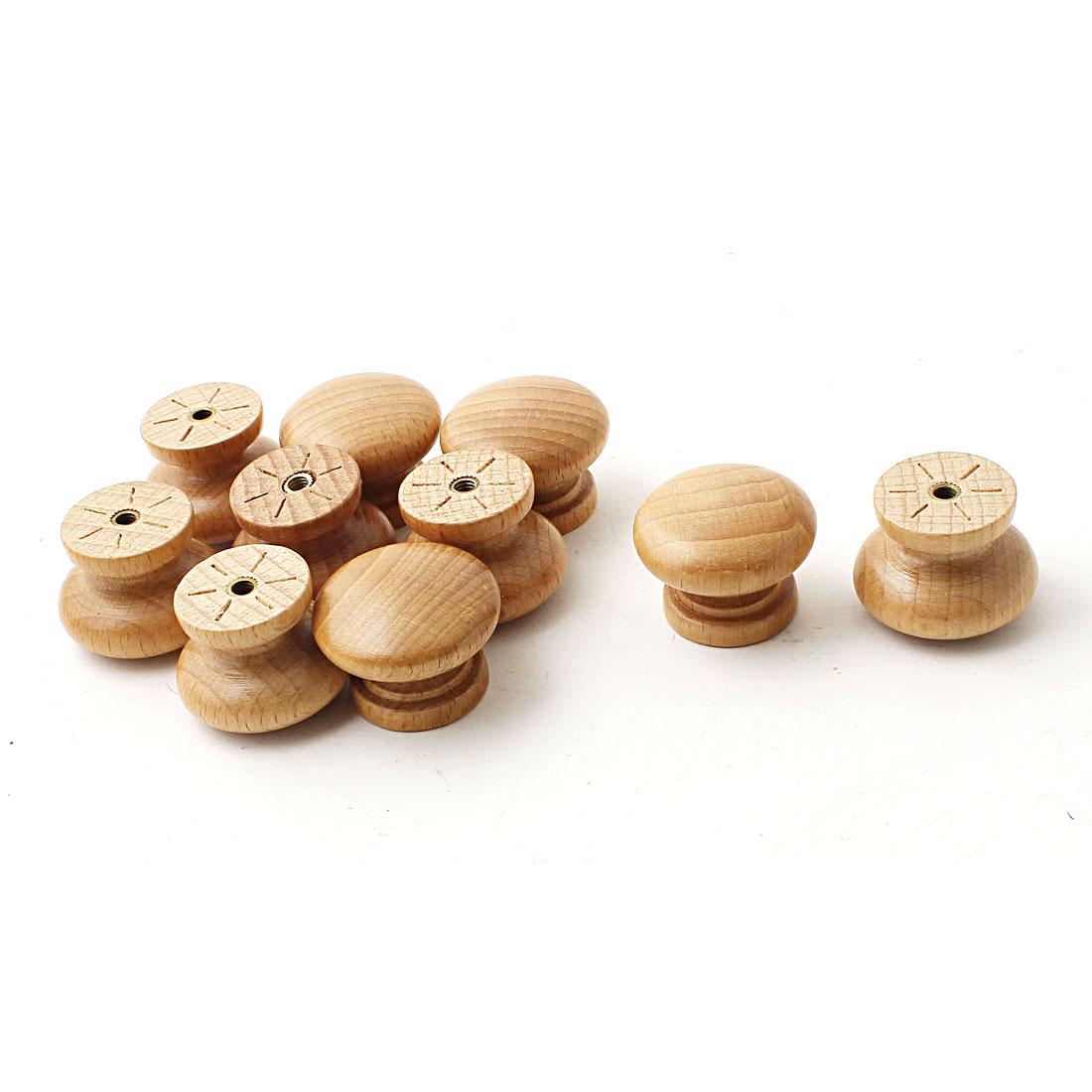 30mm Dia Round Wood Knob Drawer Cabinet Door Pull Handles Khaki 10PCS