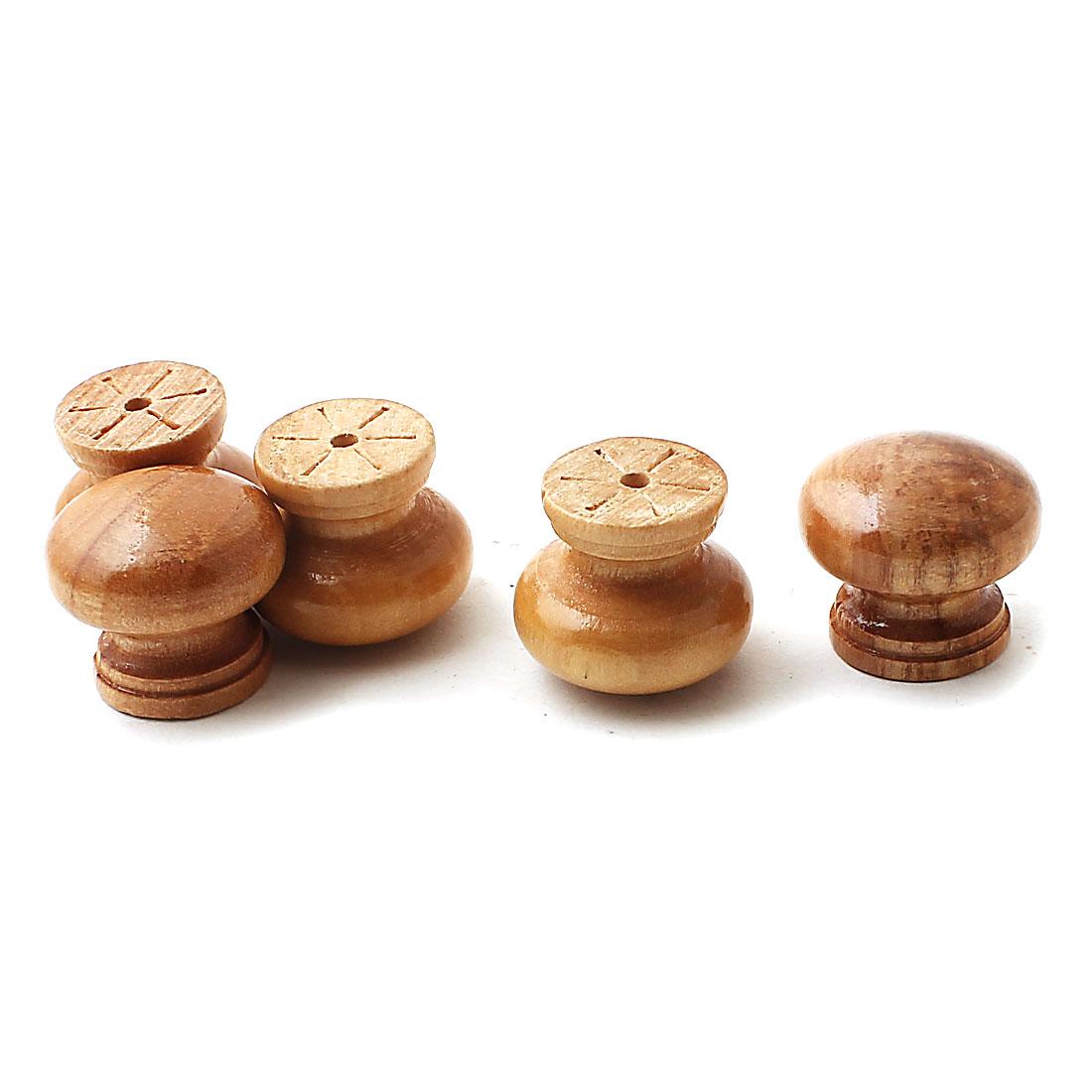 1 Inch Diameter Round Wood Knob Drawer Cabinet Pull Handles Khaki 5PCS
