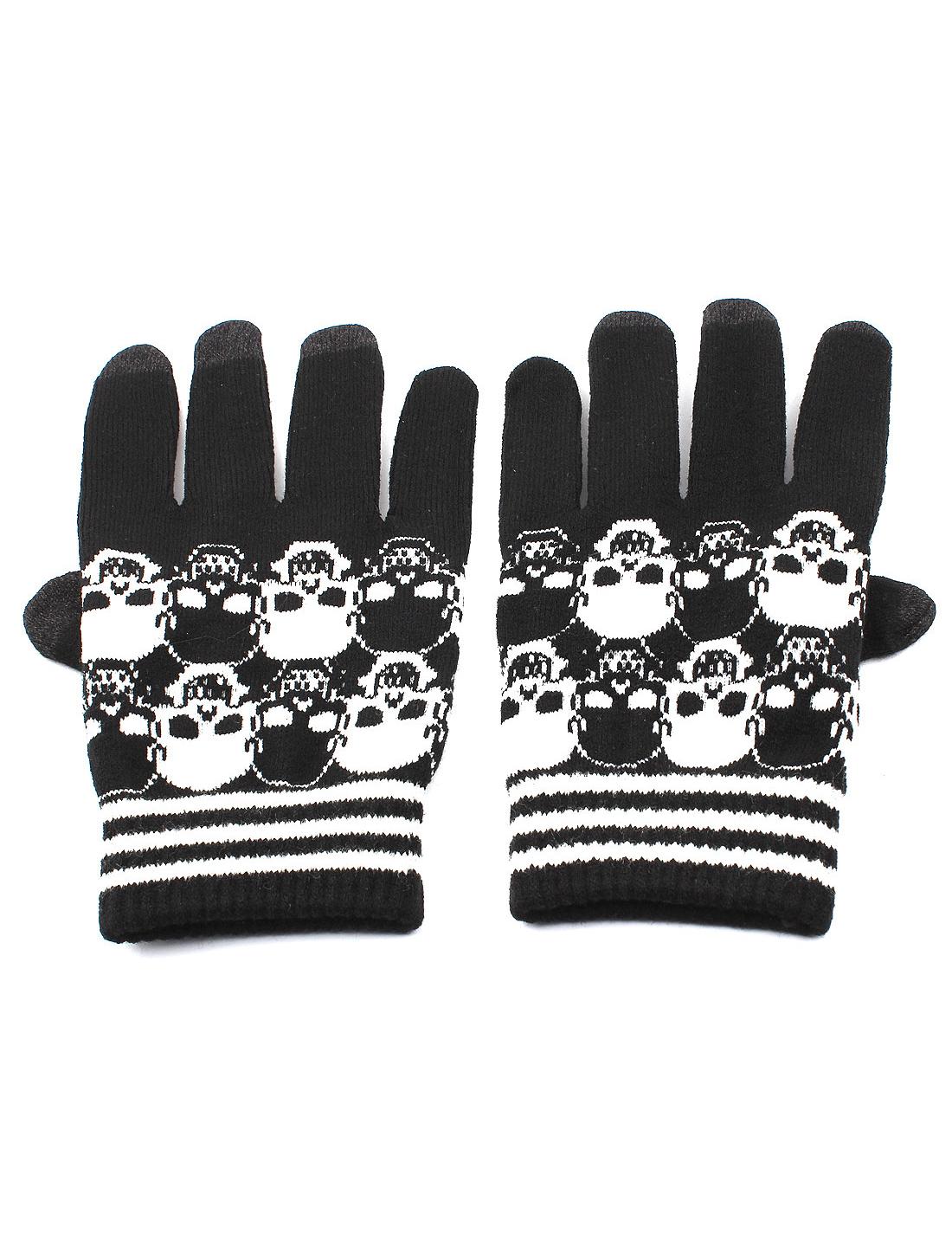 Skull Pattern Full Finger Elastic Cuff Gloves Warmer Black White Pair
