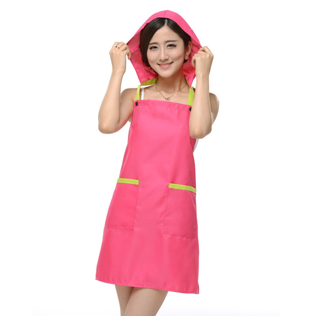 Women Kitchen Restaurant Cafe Cooking Dress Pocket Apron Bib Fuchsia w Cap