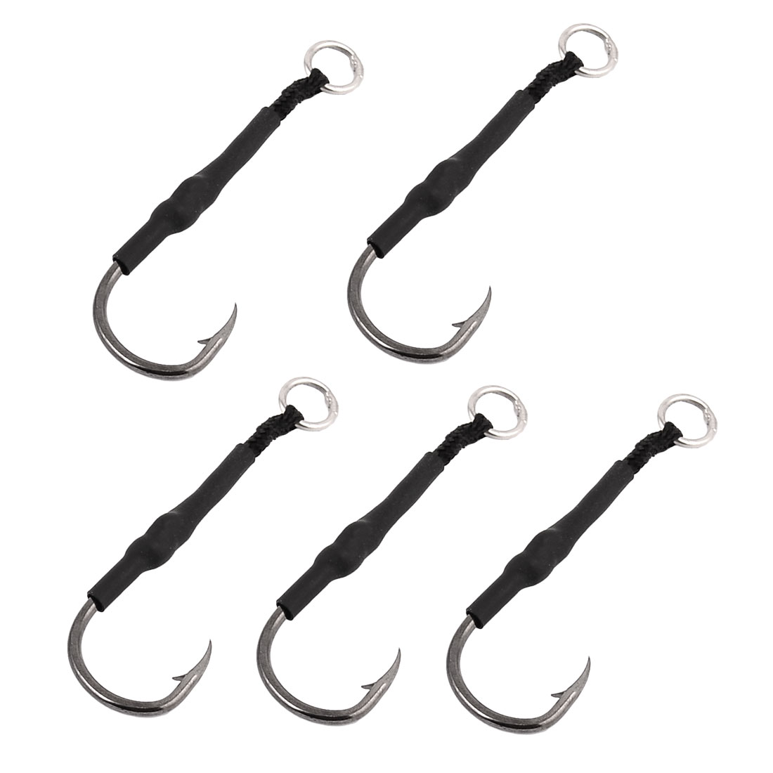 Metal J-shape Fishing Tackle Fish Angling Hook Fishhook Black 5PCS
