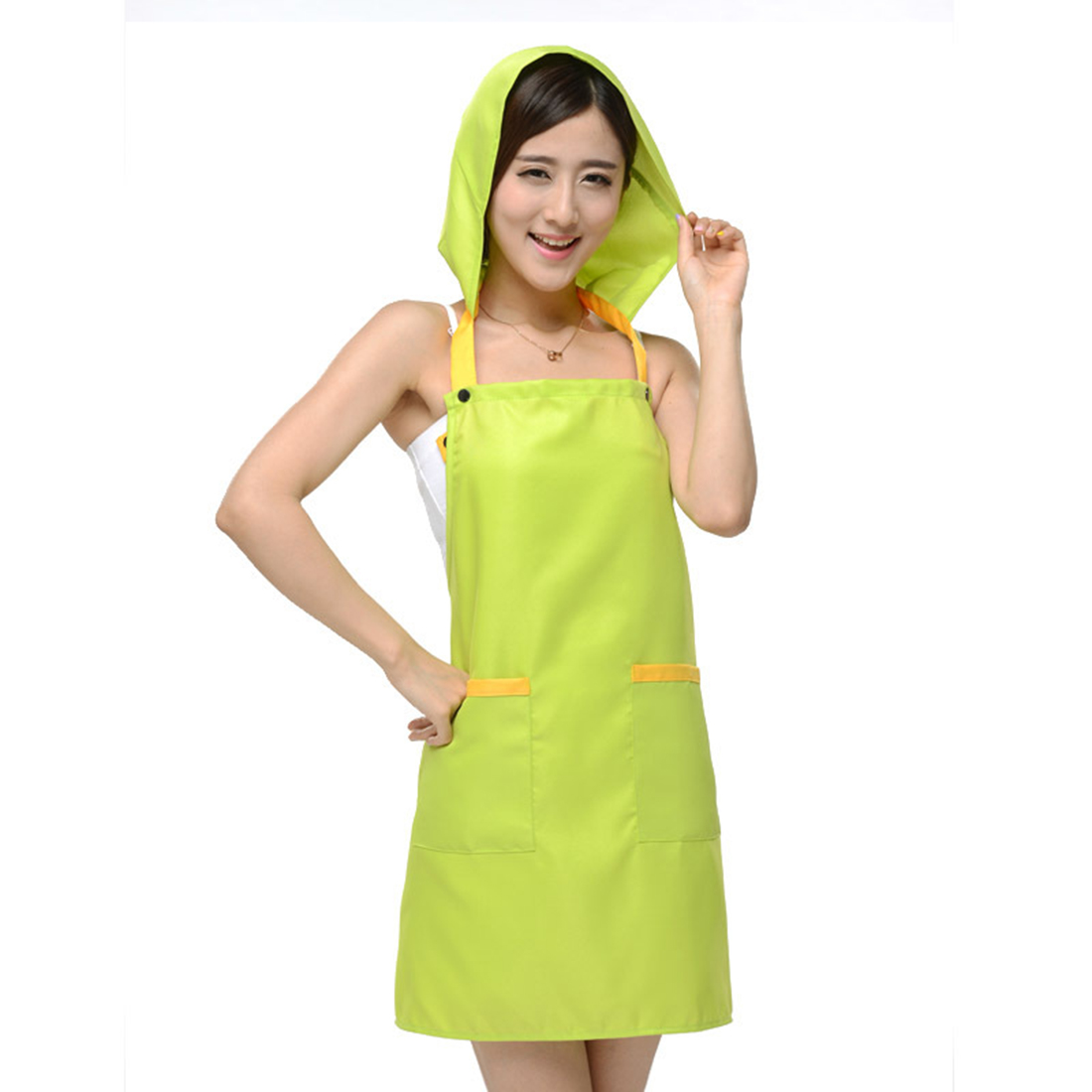Women Kitchen Restaurant Cafe Cooking Dress Pocket Apron Bib Green w Cap