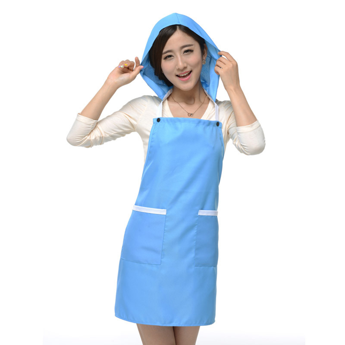 Women Kitchen Restaurant Cafe Cooking Dress Pocket Apron Bib Sky Blue w Cap