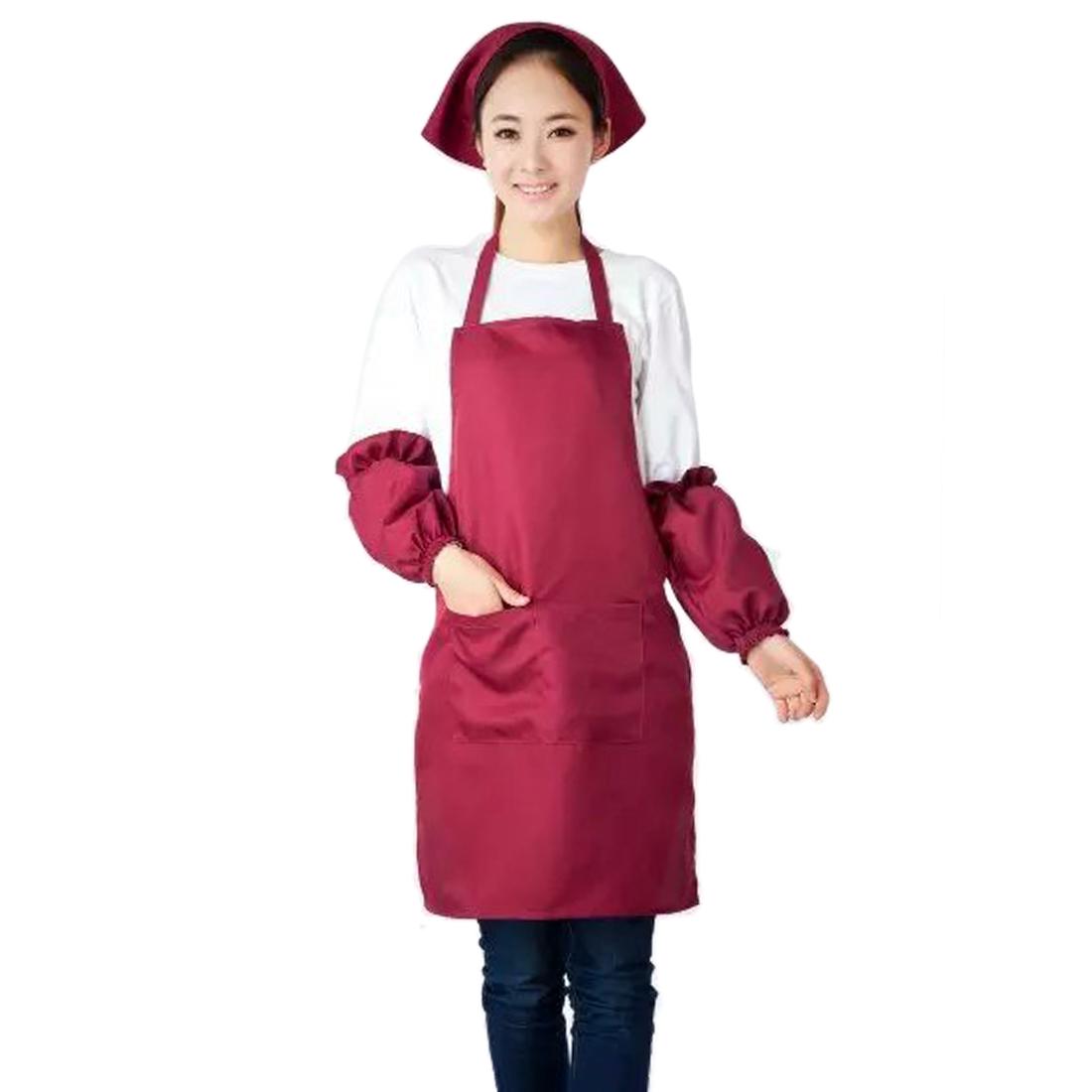 Restaurant Cooking Coffee Shop Lover Dress Pocket Apron Bib Burgundy w Sleeve Headscarf