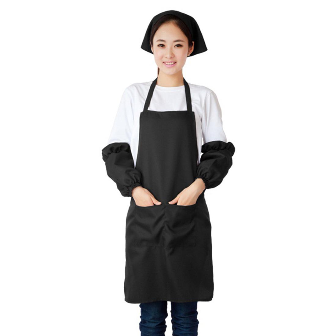 Hotel Restaurant Coffee Shop Dress Pocket Apron Bib Black w Sleeve Headscarf