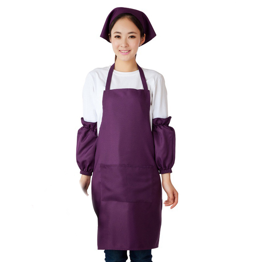 Hotel Restaurant Coffee Shop Dress Pocket Apron Bib Purple w Sleeve Headscarf