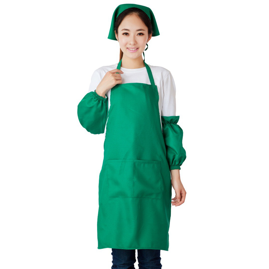 Woman Hotel Coffee Fruit Shop Dress Pocket Apron Bib Green w Sleeve Headscarf