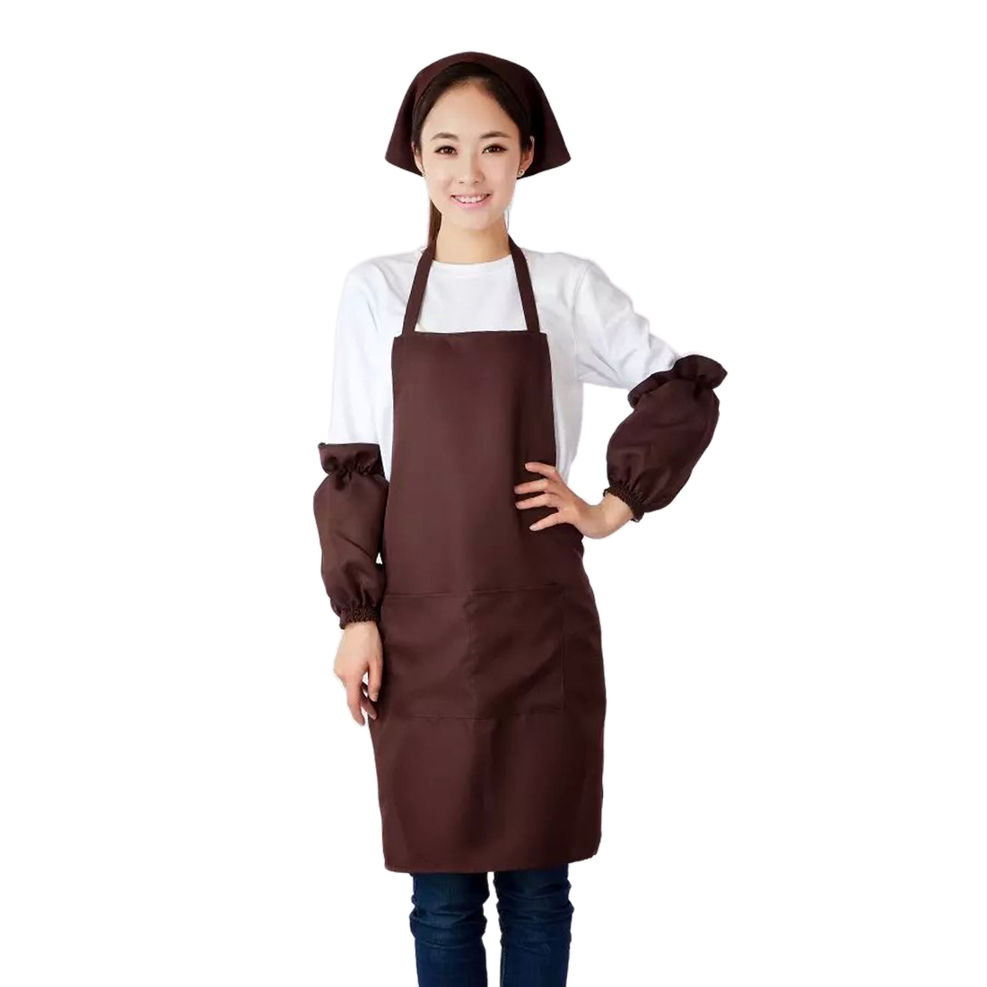 Home Housework Kitchen Cooking Lover Pocket Apron Bib Dark Brown w Sleeve Headscarf