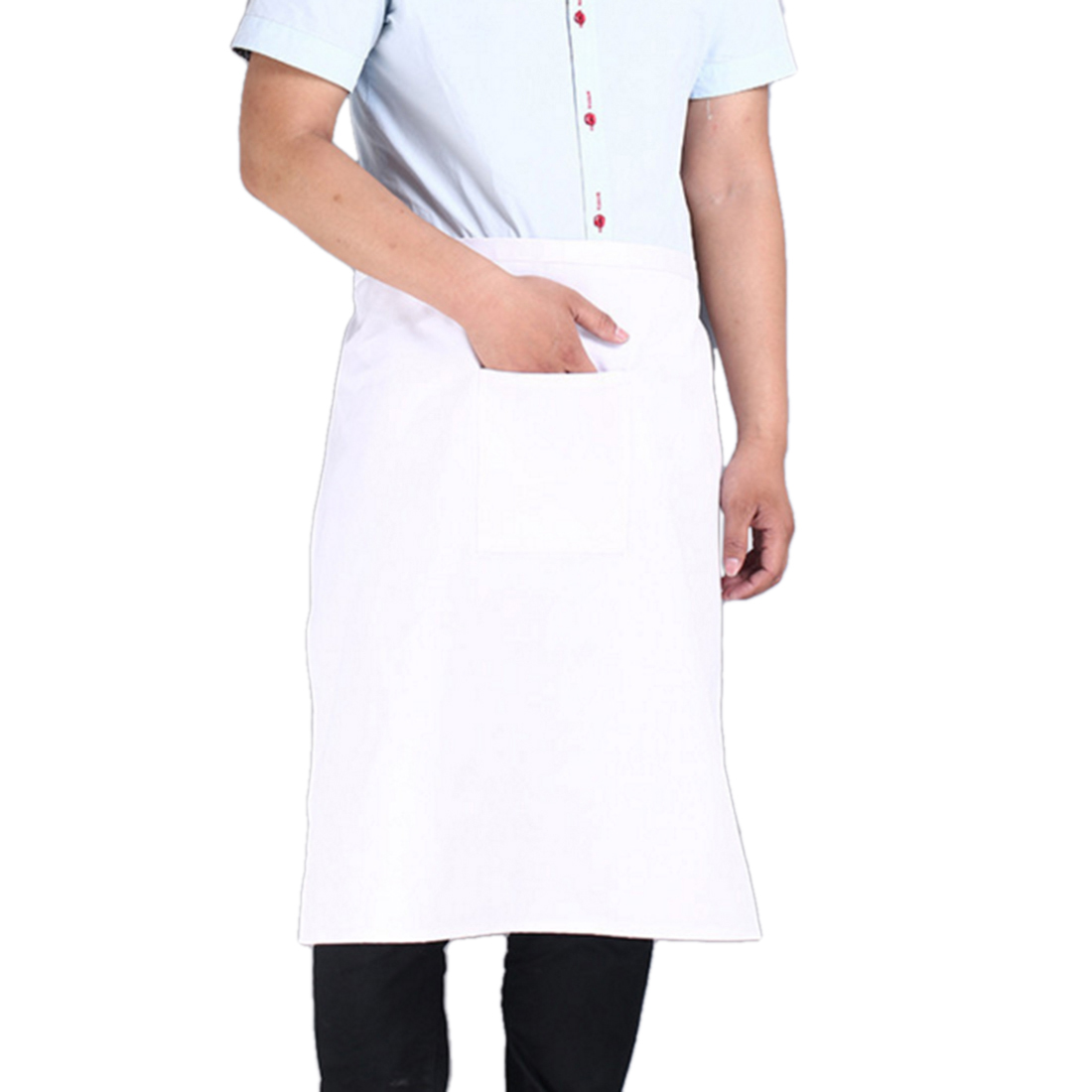 Man Restaurant Kitchen Cooking Fabric Half-length Pocket Apron Bib White