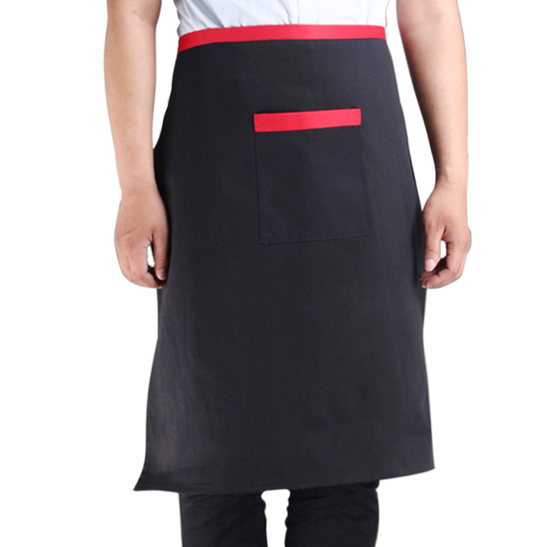 Coffee Shop Restaurant Cook Chef Man Fabric Pocket Apron Bib Black 70 x 70cm