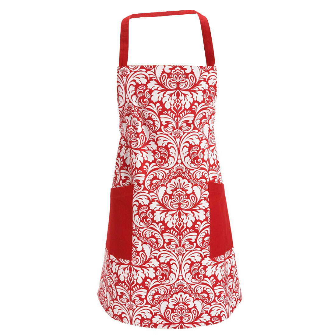 Women Flower Prints Kitchen Restaurant Bib Cooking Pocket Apron Dress Red