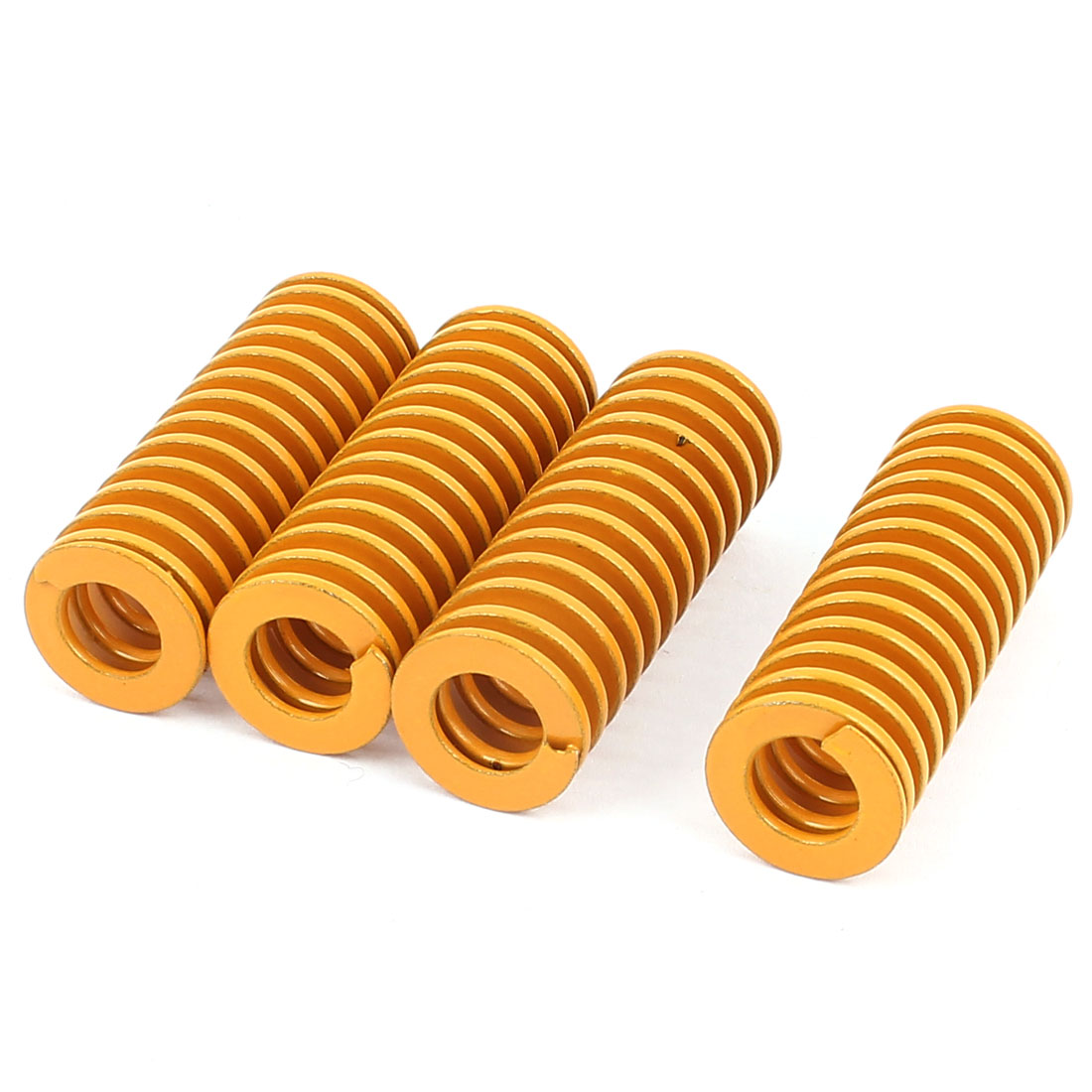 20mm OD 55mm Long Light Load Coil Stamping Compression Mold Die Spring Yellow 4 Pcs