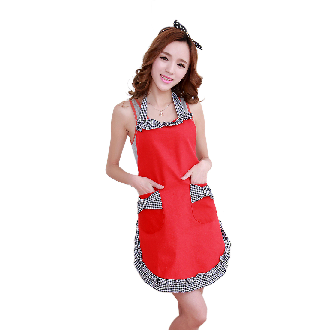 Women Bowknot Design Grids Pattern Apron w Pockets
