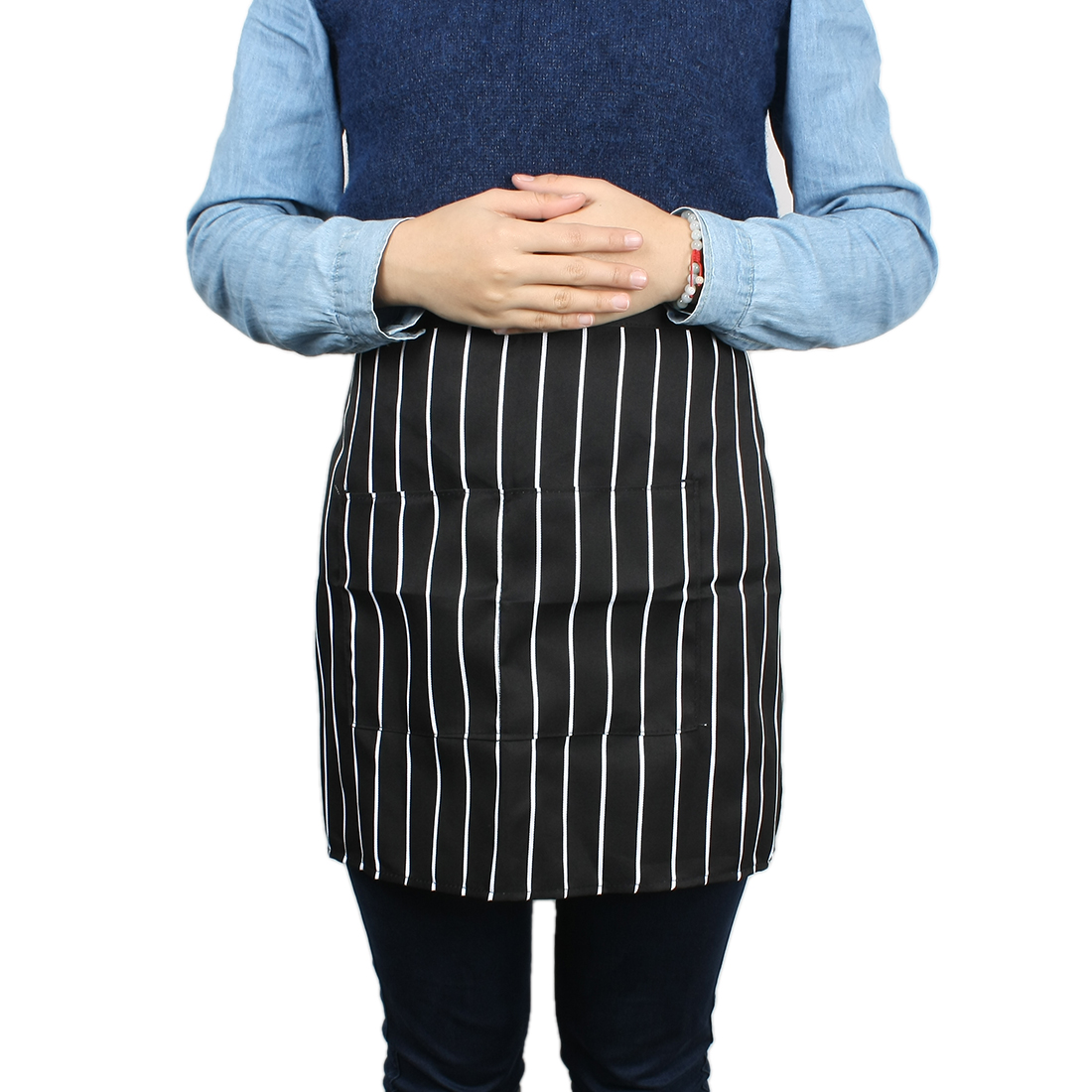 Restaurant Kitchen Cooking Chef Waiters Stripe Pattern Apron Black White