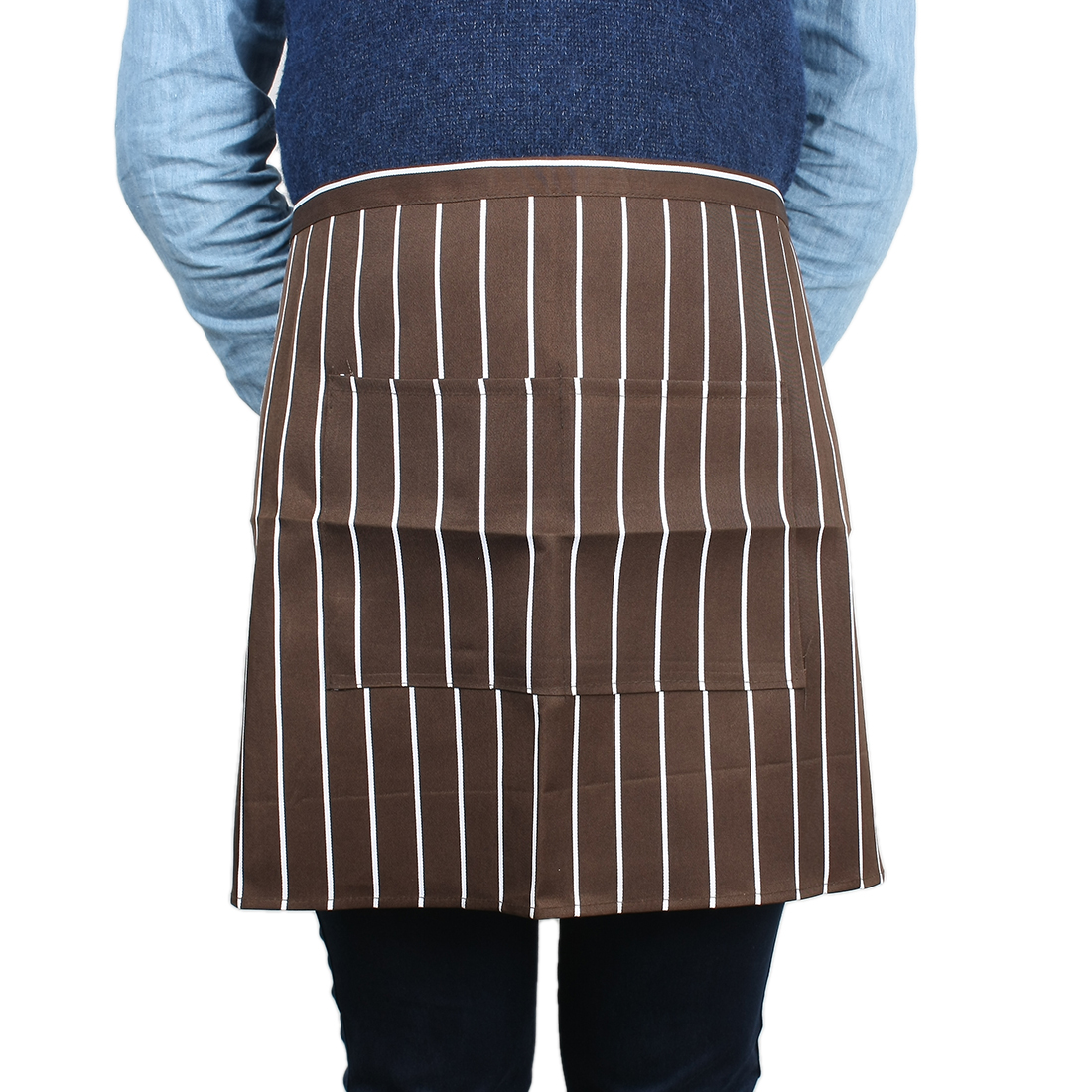 Restaurant Canteen Cooking Chef Waiters Stripe Pattern Apron Brown White