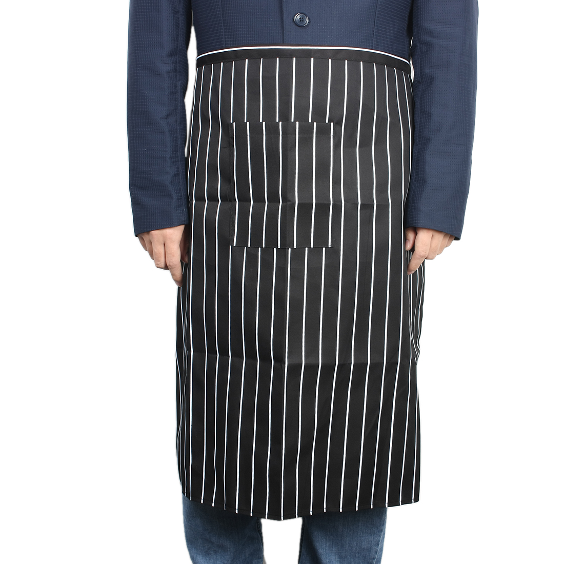 Lover Man Barber Shop Restaurant Cooking Strip Pattern Pocket Apron Bib Black