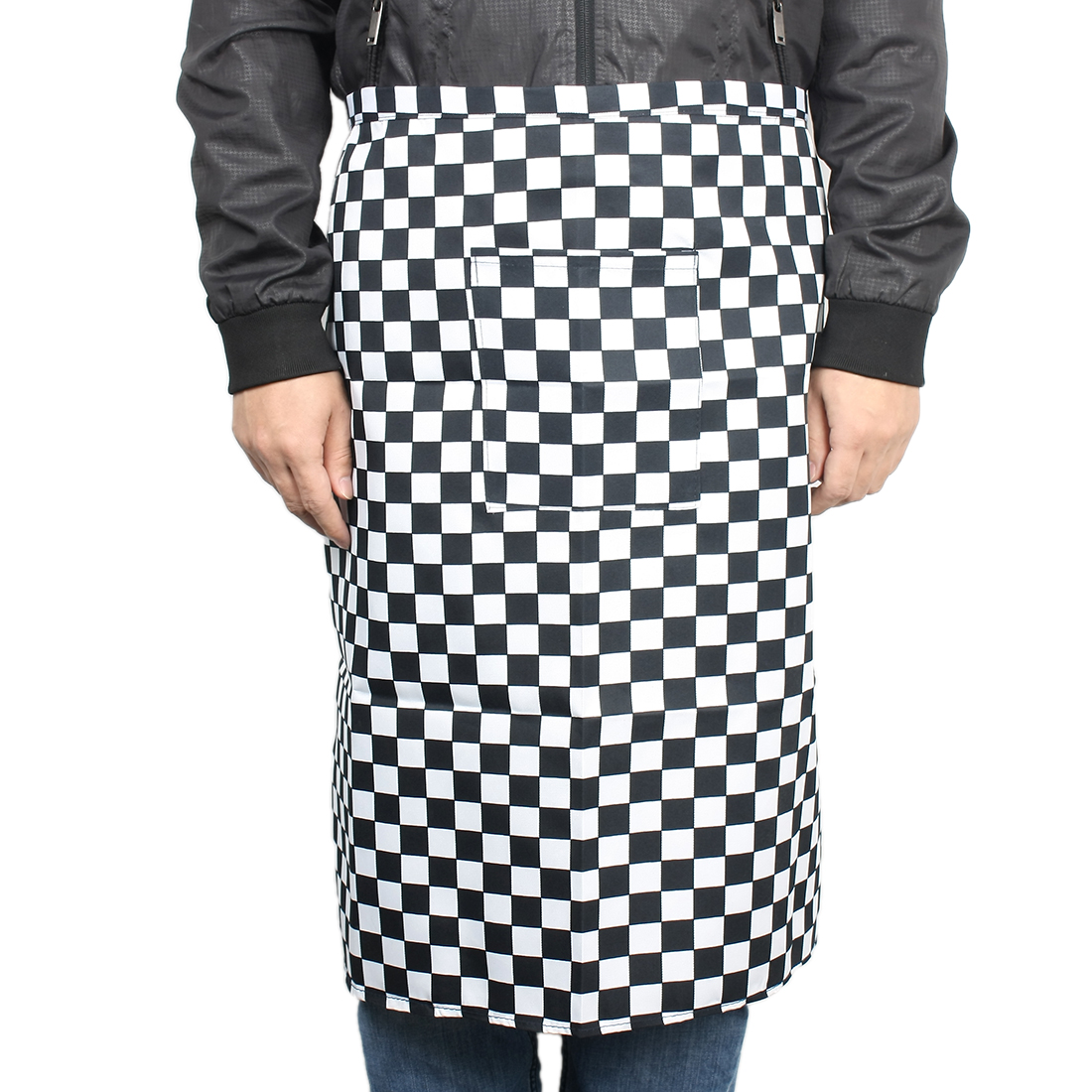 Man Cafe Barber Shop Restaurant Cooking Grid Pattern Fabric Pocket Apron Bib