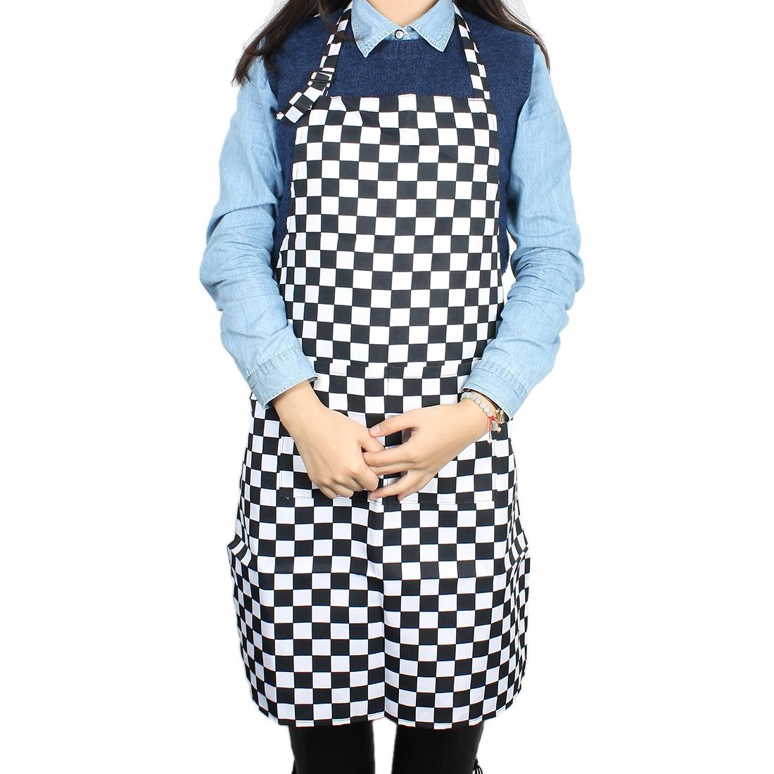 Woman Hot Pot Cooking Fabric Grid Printed Pocket Apron Bib Black White