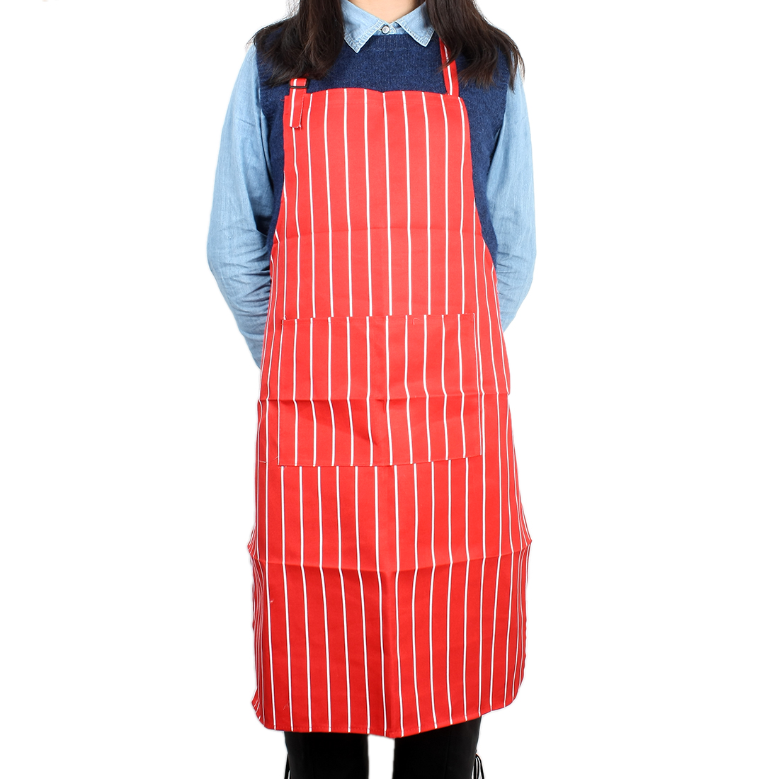 Woman Hot Pot Kitchen Cooking Fabric Stipe Printed Pocket Apron Bib Red White