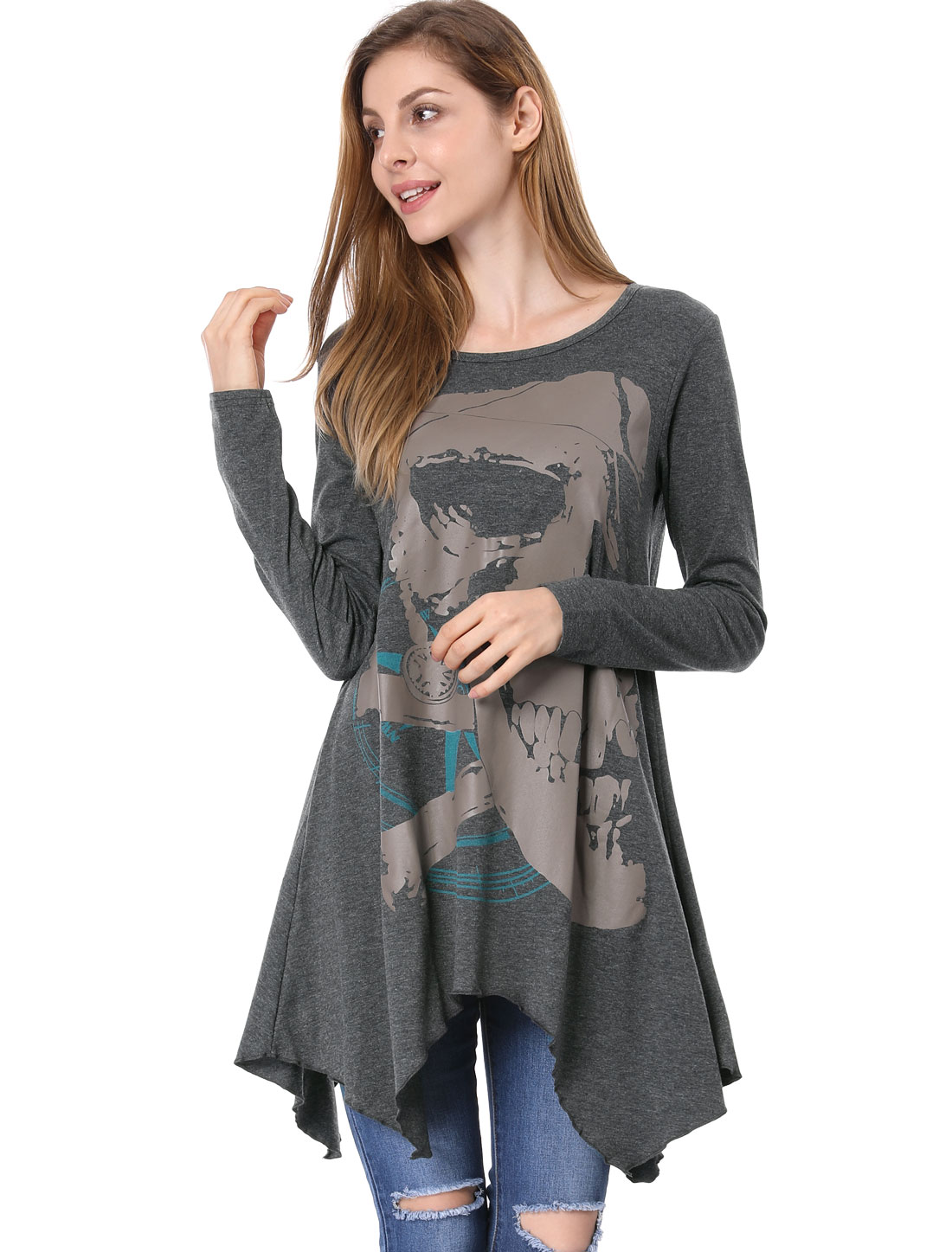 Ladies Skull Pattern Handkerchief Hem Loose Tunic Gray M