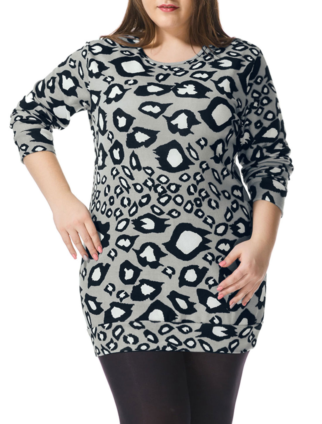 Women Plus Size Long Sleeves Leopard Print Knit Tunic Top Gray 1X
