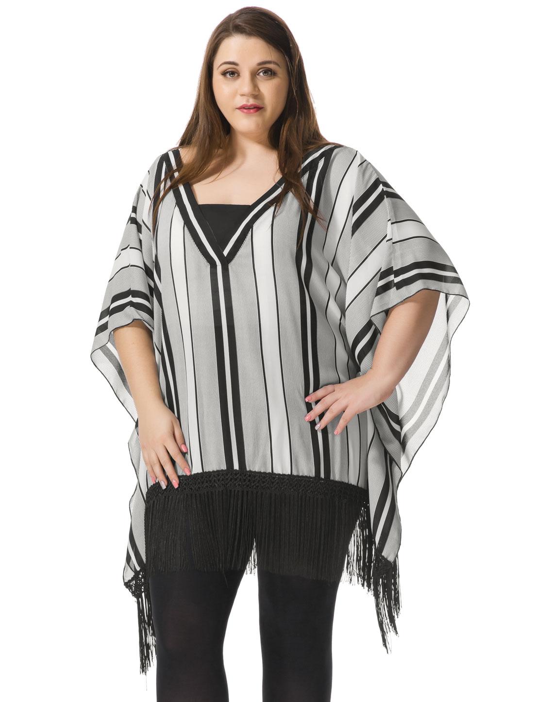 Women Plus Size Fringed Striped Chiffon Blouse Gray 2X