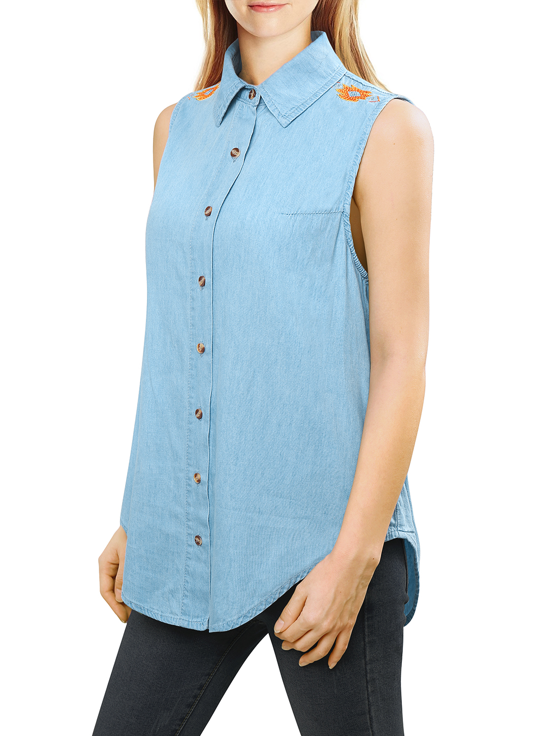 Women Embroidered Sleeveless Denim Shirt w Cut Out Back Blue L