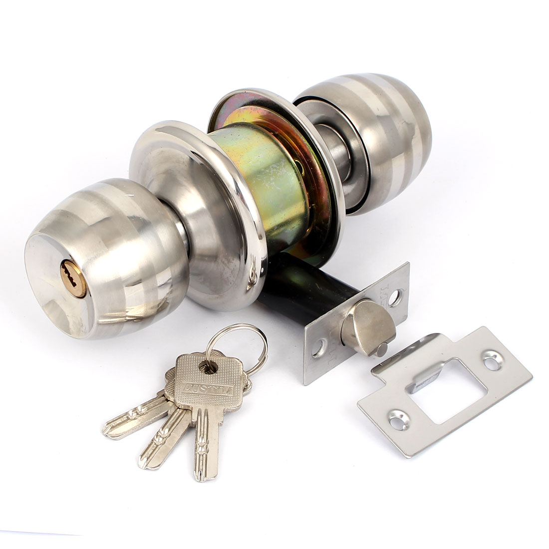 Bedroom Bathroom Stainless Steel Privacy Round Handle Knobs Door Lock Lockset