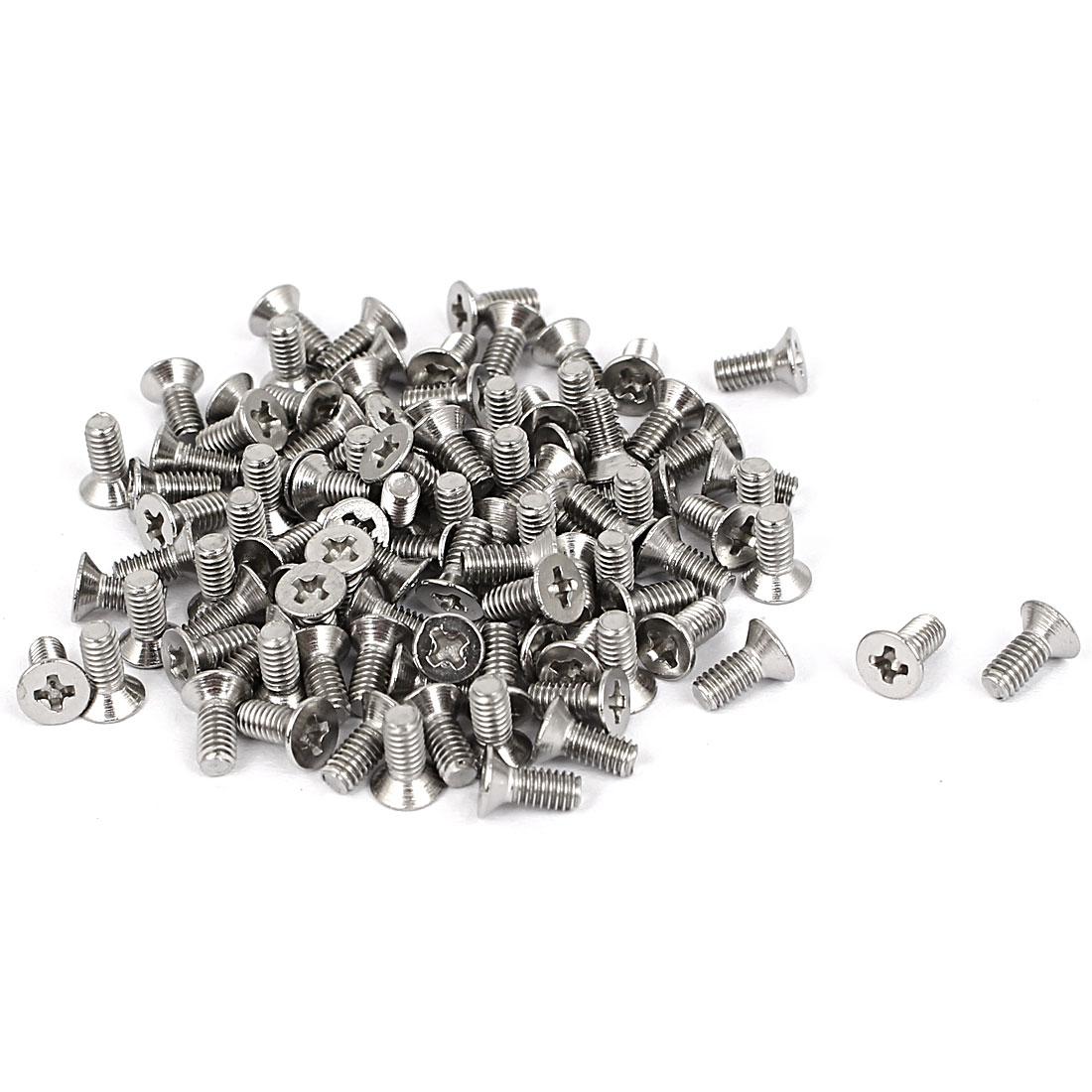 M2.5x6mm Stainless Steel Phillips Flat Countersunk Head Screws 100pcs