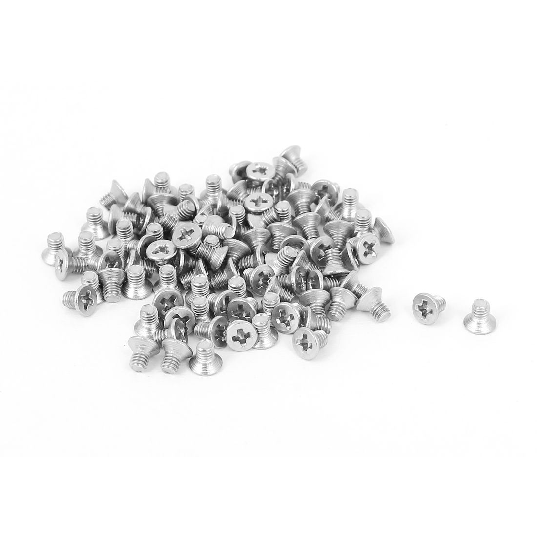 M2.5x4mm Stainless Steel Phillips Flat Countersunk Head Screws 100pcs