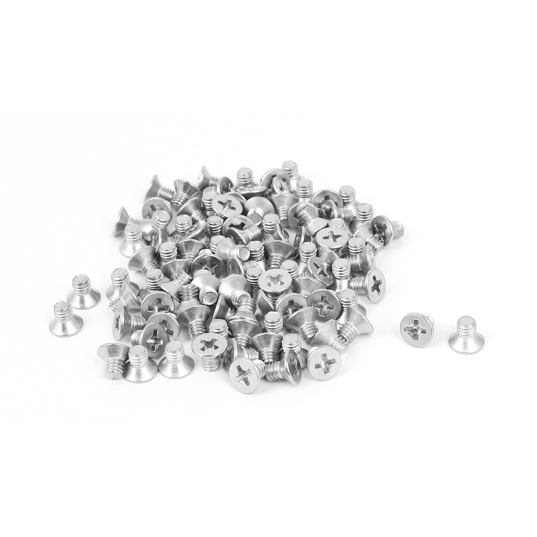 M4x6mm 304 Stainless Steel Phillips Flat Countersunk Head Machine Screws 100pcs
