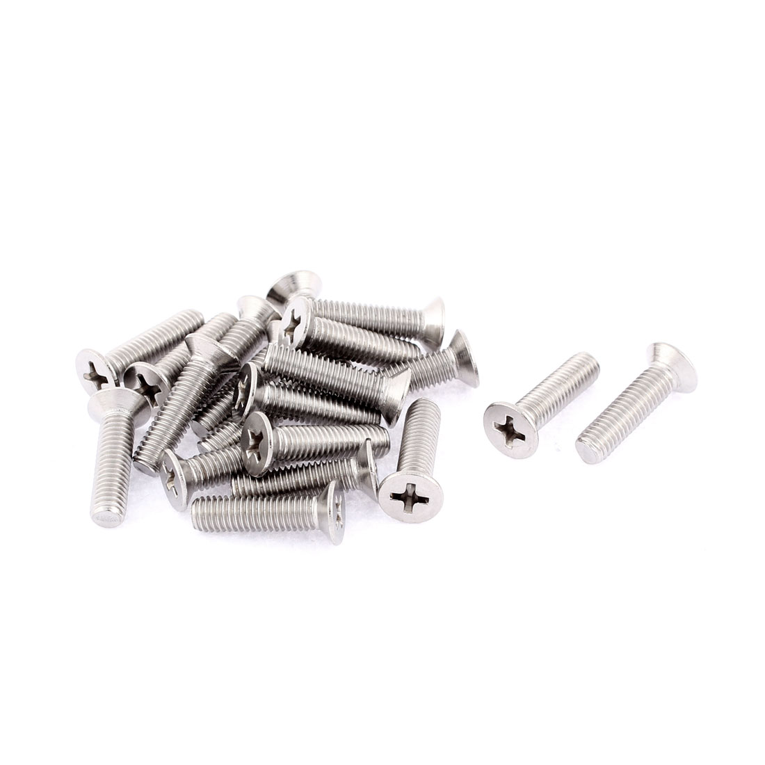 M5 x 20mm Phillips Socket Stainless Steel Countersunk Bolts Screws 20 Pcs