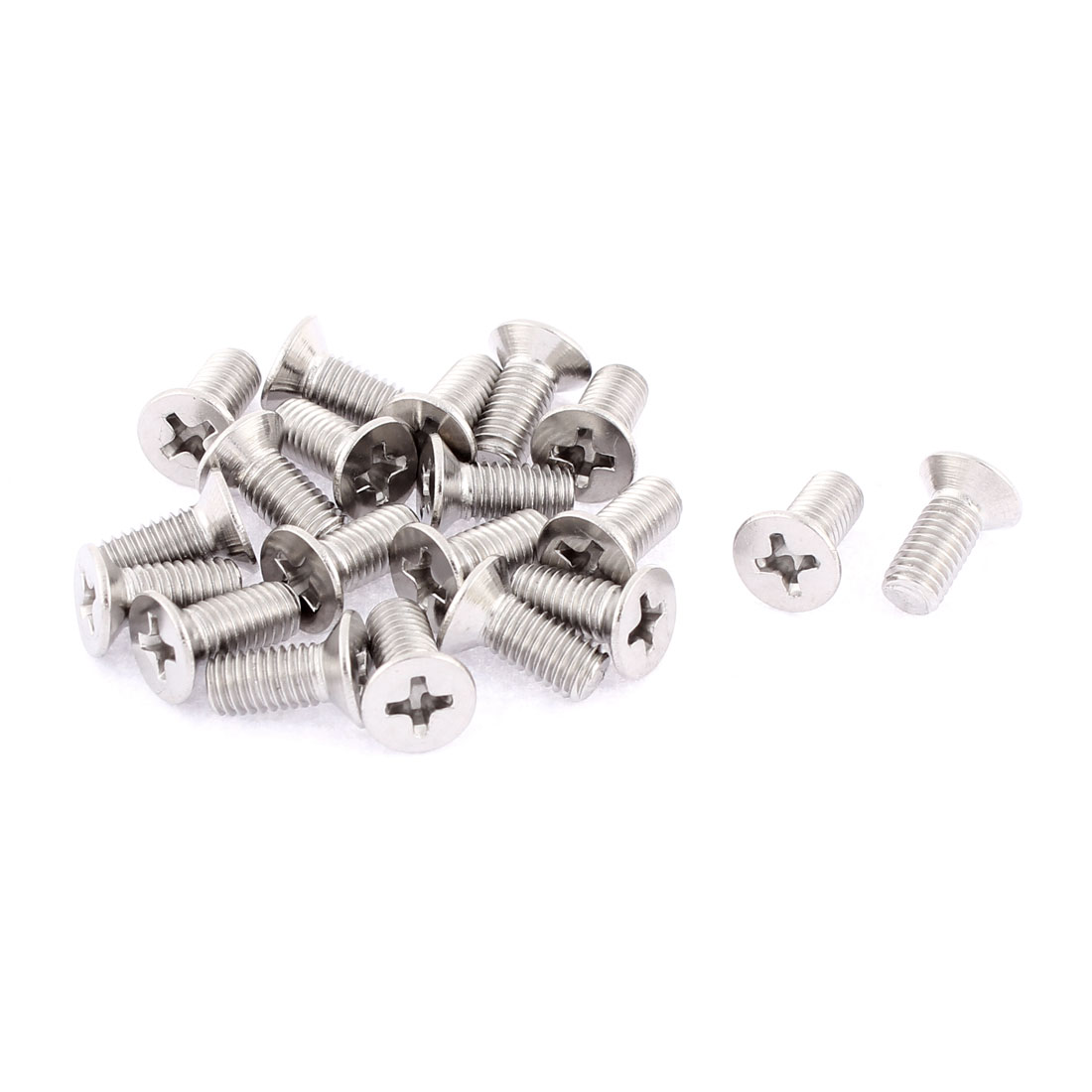 M5 x 12mm Phillips Round Head Stainless Steel Countersunk Bolts Screws 20 Pcs