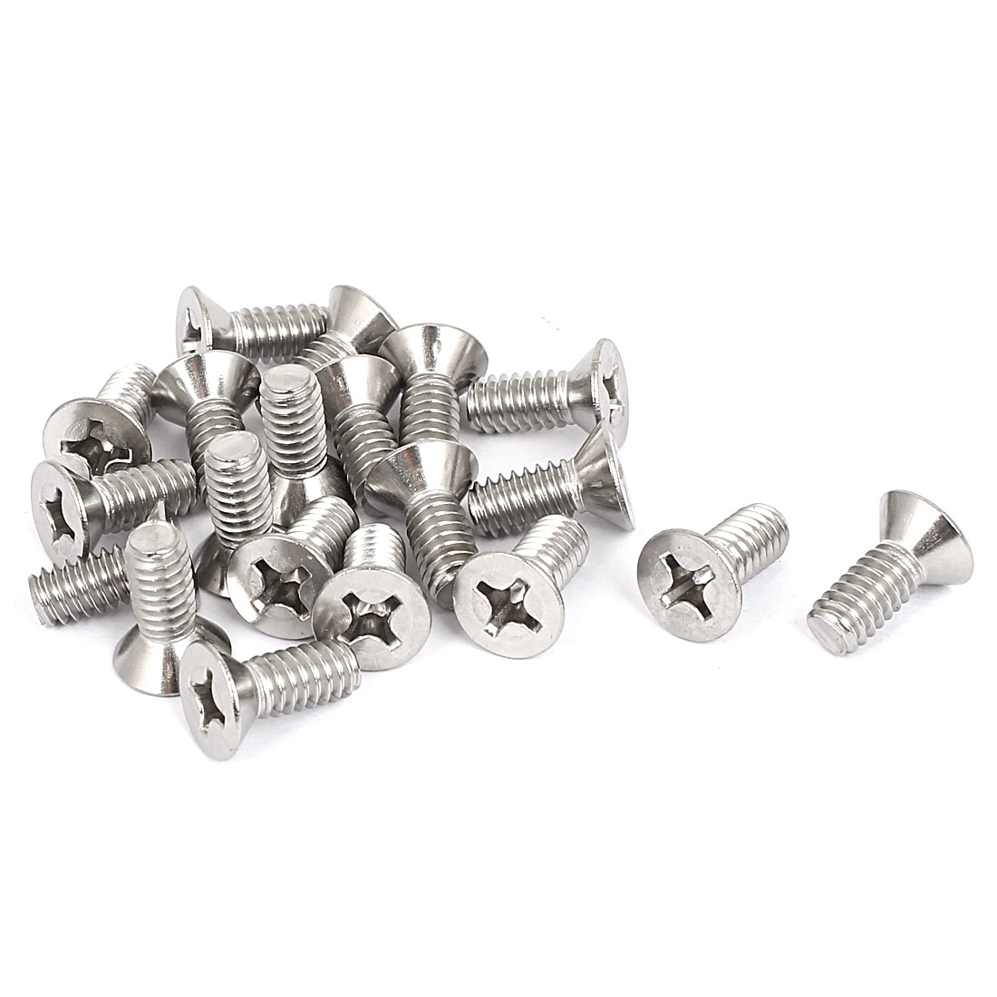 "1/4""-20x5/8"" 304 Stainless Steel Phillips Flat Countersunk Head Screws 20pcs"