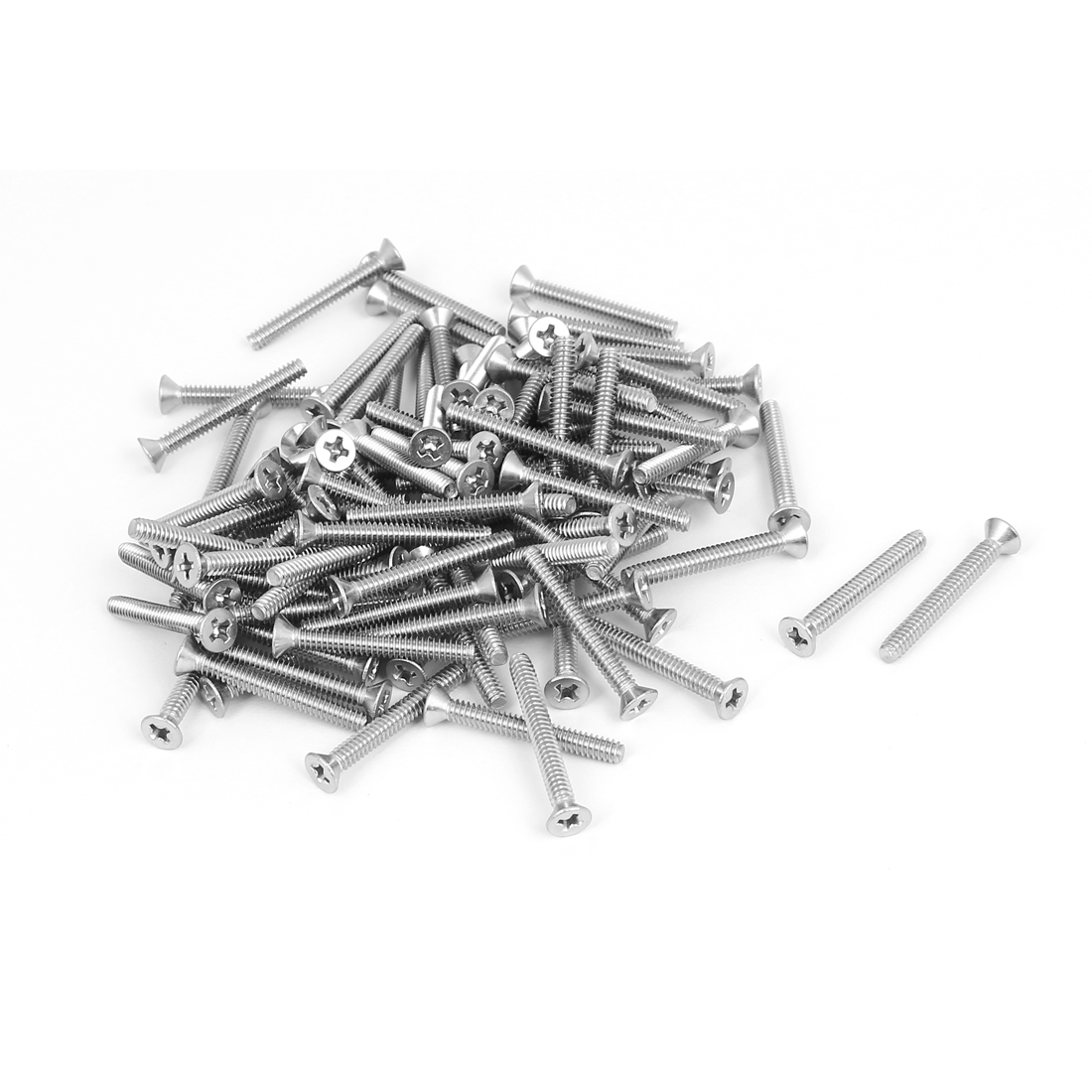 "6#-32x1-1/8"" 304 Stainless Steel Phillips Flat Countersunk Head Screws 100pcs"
