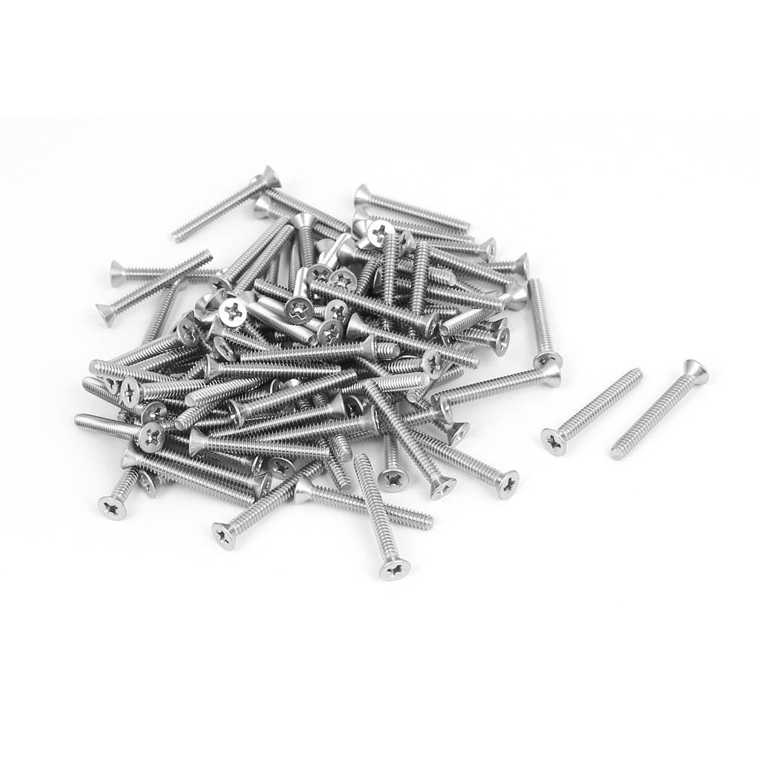 "6#-32x1-1/8"" 304 Stainless Steel Phillips Flat Countersunk Head Screws 100pcs"