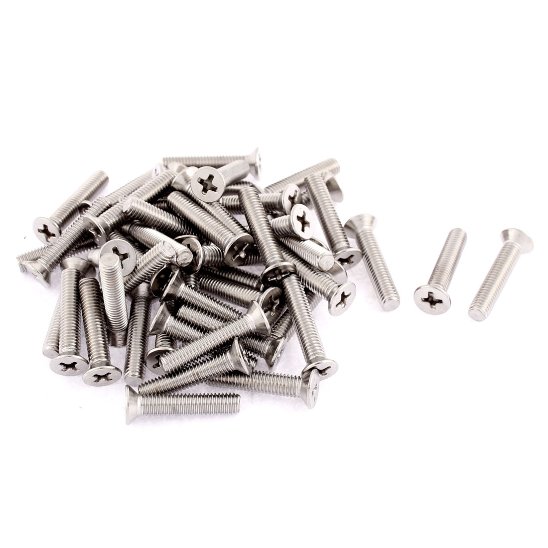 M5 x 25mm Phillips Head Stainless Steel Countersunk Bolts Screws 50 Pcs