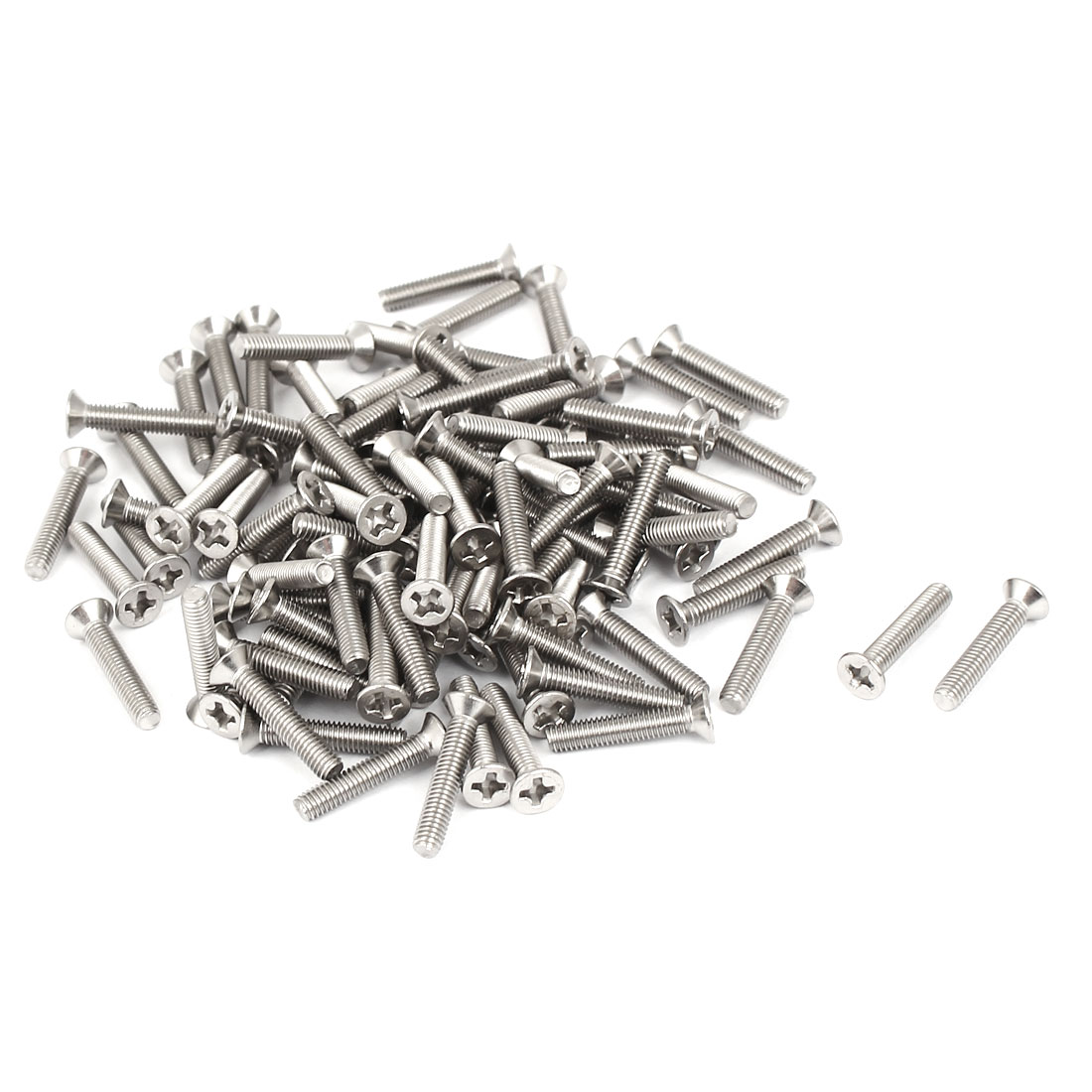 M3x16mm 304 Stainless Steel Phillips Flat Countersunk Head Machine Screws 100pcs