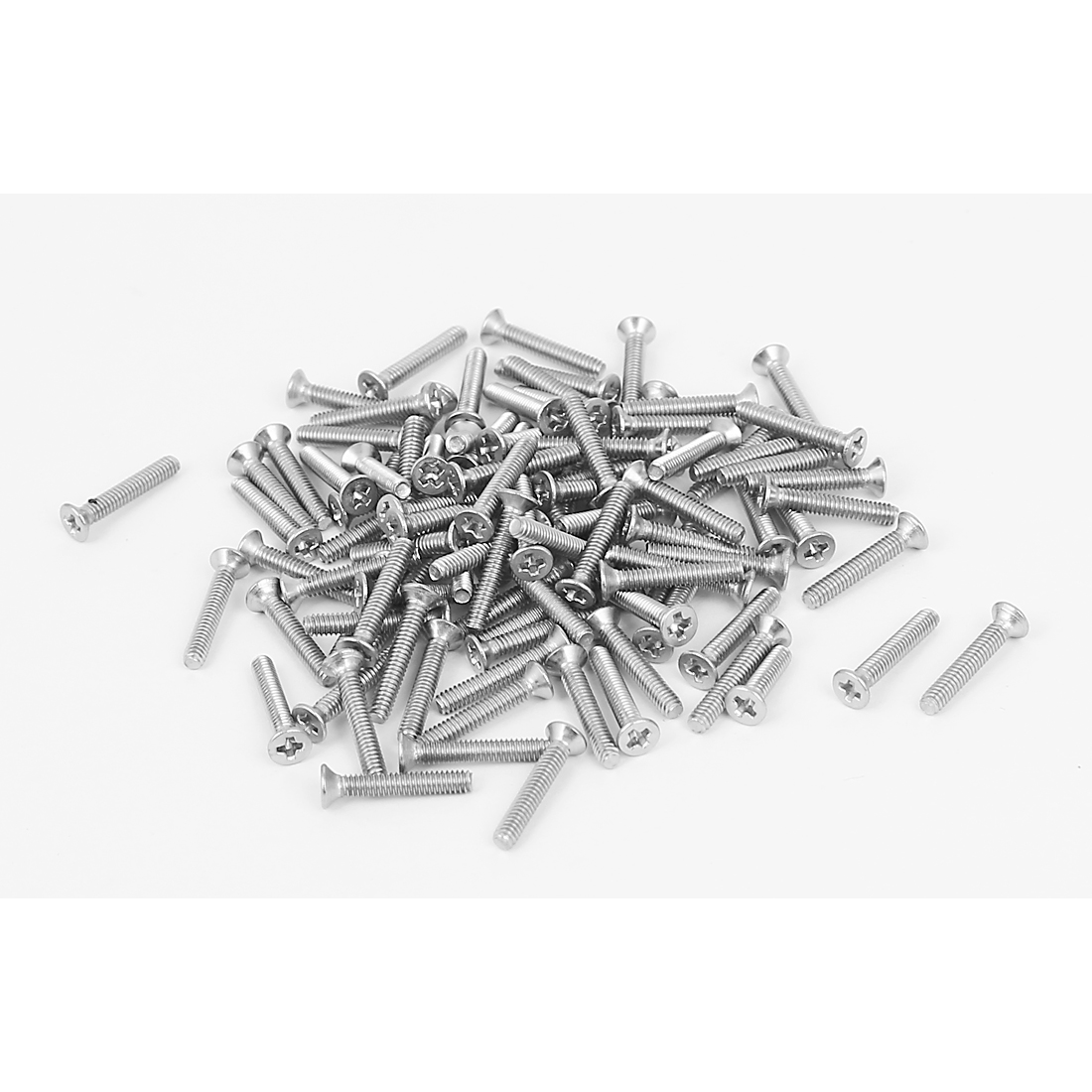 M2x12mm 304 Stainless Steel Phillips Flat Countersunk Head Machine Screws 100pcs